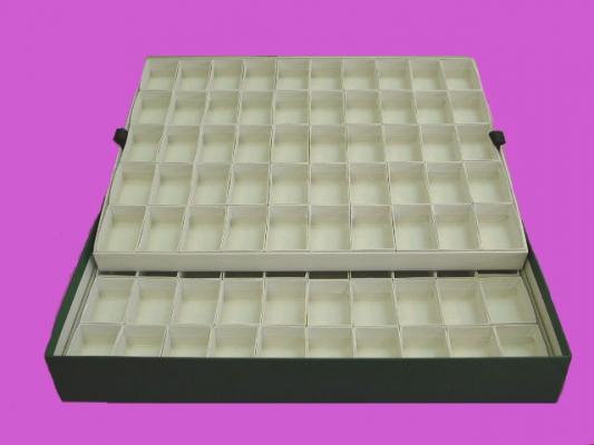 Caja verde con 100 compartimentos