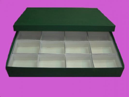 Caja verde con 16 compartimentos